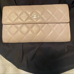 Authentic CHANEL light purple lambskin flap wallet